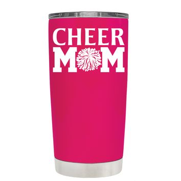 Cheer Mom Pom Pom on Hot Pink 20 oz Tumbler Cup