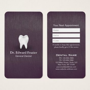 Modern Chic Purple Dental Care Dentist Appointment Business Card
