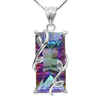 ON SALE - Fantasy Rainbow Fire Genuine Mystic 16CT Emerald Cut IOBI Precious Gems Pendant Necklace