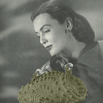 Crochet PDF Vintage Popcorn Purse Pattern WINTER purse pattern vtg clutch Instant Download knitting supplies epsteam green knitting pattern