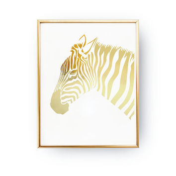 Gold Zebra Print, Zebra Print, Real Gold Foil Print, Wall Art, Gold Nursery Art, Baby Girl Prints, Baby Boy Prints, Animal Art, Gold Decor,