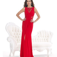 Red Beaded Lace Gown