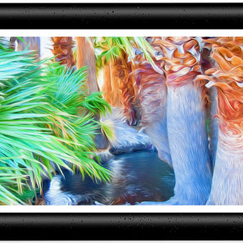 Palm Trees Surrounding a Pool of Water Painting Art -  5x7 Art Photo Prints;Wood Frame or Mat Frame