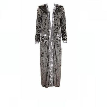 Odelia- Slim Fit Beaded Long Jacket