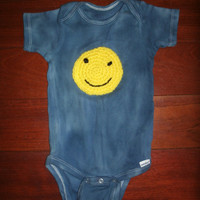 Unique Baby Onesuit with Smiley Face Applique -- long sleeve