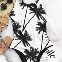 Sweet Coconut Milk One-piece Bikini Swimsuit