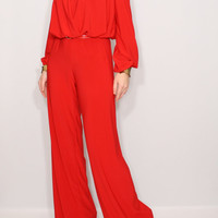 Long sleeve wide leg jumpsuit Red jumpsuit Wrap top