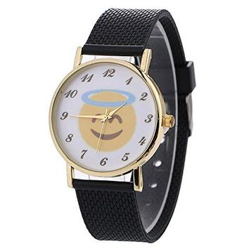 S660 Neutral Cute Emoji Fashion Leather Quartz Wrist Watch Simplicity Gold Plated Round Dial Clearance Fashion Dress by St.Dona (S660F)