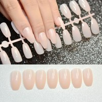 24pcs Pure Nature Acrylic Nail Tips Coffin Shape Design Flat Stiletto Fake Nail Medium Full Cover Faux Ongles 70B