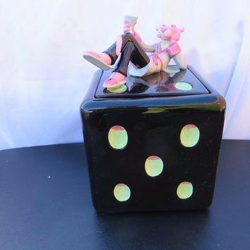 Vintage Vandor 1998 Premiere Edition Pink Panther Dice Cookie Jar MIB #H867