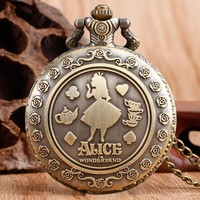Alice in Wonderland Bronze Pocket Watch