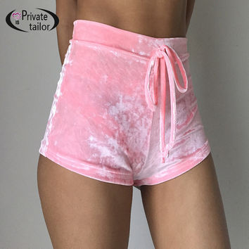 Women velvet drawstring shorts Casual high waist 2016 autumn winter sexy mini shorts sleep Bottoms trousers Home outfits