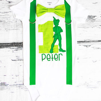 Boy first birthday Peter Pan themed bow tie & Suspenders Bow tie Peter Pan First Birthday Neverland Boy Cake Smash Outfit Boy 1st Birthday