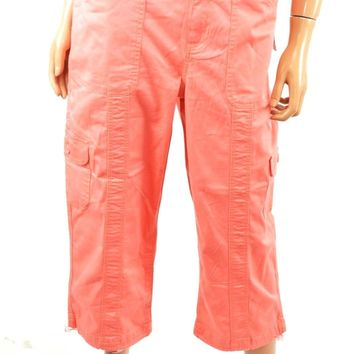 Style&co Womens Orange Mid-Rise Comfort-Waist Pocket Capri Cropped Pant 12