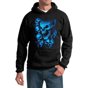 Yoga Clothing for You Flaming Blue Skulls Biker Hoodie Sweatshirt - Black