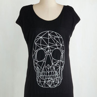 Skulls Mid-length Short Sleeves Connect the Thoughts Top by ModCloth
