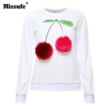 Missufe Plain Blue Cotton Women Jumper Sweatshirt Colorful Ice Cream 3D Artificial Fur Plush Ball Casual Women Tops Pullovers