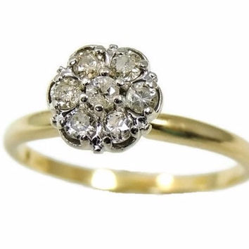Diamond Cluster Engagement Ring 14k Gold .35 ctw
