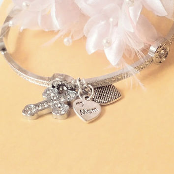 Mom, bracelet, gift, Mum, mother, Jewelry, gift for mom, mother daughter, jewellery, cross Jewelry, grandma, grandmother, Nana, cross,