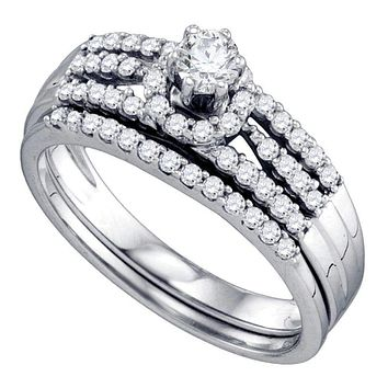 14kt White Gold Women's Round Diamond Halo Bridal Wedding Engagement Ring Band Set 1/2 Cttw - FREE Shipping (US/CAN)