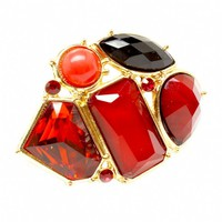Rebekka's Extra Large Red Mixed Shape Cluster Fashion Ring - Final Sale