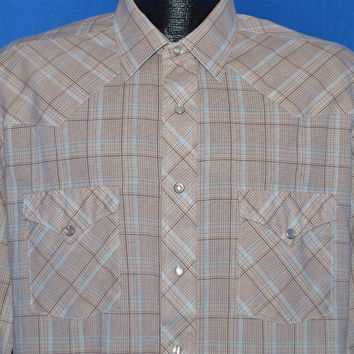70s Round Up Brown White Plaid Pearl Snap Shirt Large