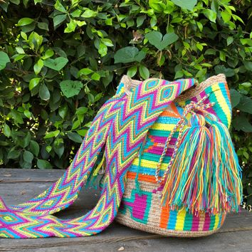 BROWN RAINBOW WAYUU BAG