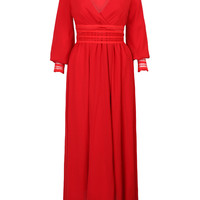 Red Wrap V-neck Sheer Lace Panel Maxi Dress