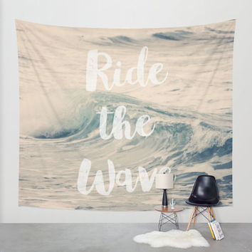 Art Wall Tapestry Ride the Wave Modern photography typography Unique Wall Hanging home decor nautical photo photograph beach house blue wave