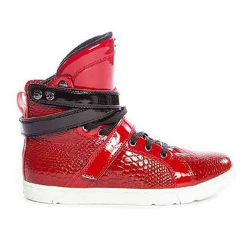 Red Anaconda High Top Bodybuilding Flat Sole Sneaker