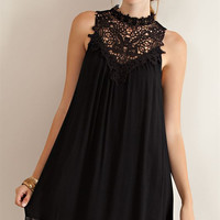 High Lace Neck Flare Dress - Black