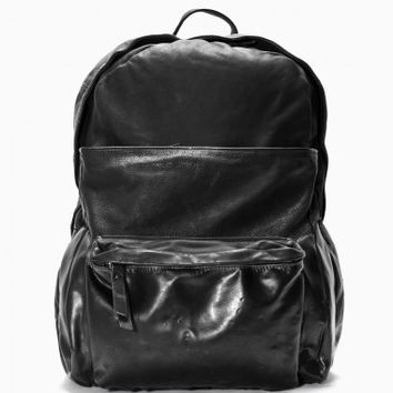 Leather backpack from the F/W2014-15 oXs Rubber Soul collection in black.