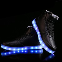 DoGeek Unisex Light up Shoes Amazon For Adult 7 Colors Led Shoes High Tops (Choose Half Size Up)