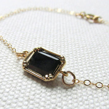 Black Rectangle Bracelet Delicate Gold Plate or 12k Gold Filled Chain Dainty Bracelet Minimal Jewelry