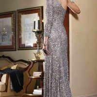 One Shoulder Sheath Gown By BG Haute
