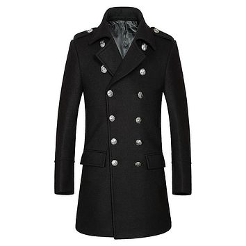 tailor-made fashion 2017 new arrival double breasted cashmere overcoat men good quality warm men pea coats size