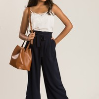 Gail Navy Lace Trim Culottes