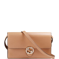 Icon Leather Wallet with Strap, Beige - Gucci
