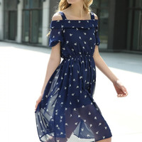 Navy Cold Shoulder Ice Cream Printed Chiffon Dress [6220813956]