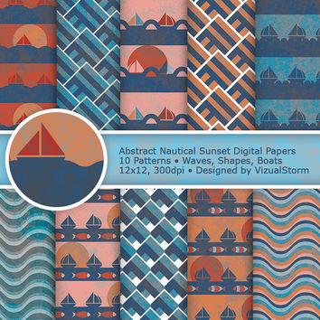 Abstract Nautical Sunset Digital Paper, Scenic Ocean Backgrounds, blue & orange boats, geometric shapes, waves and fish, Buy 2 Get 1 Free