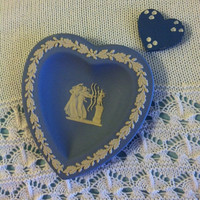 Blue Cameo Heart Trinket Dish Wedgwood English Jasperware Fine China Portland Blue White Heart Ring Tray Neoclassical Greek Mythology Motif