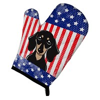 American Flag and Smooth Black and Tan Dachshund Oven Mitt BB2145OVMT