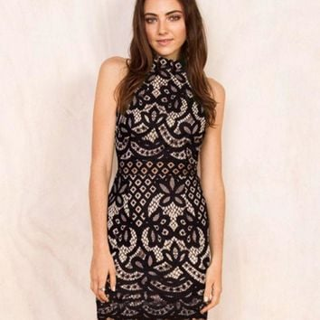 PEAPIH3 HOT HIGH COLLAR LACE DRESS