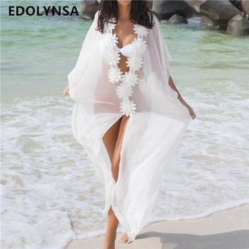 DKLW8 Beach Cover up Sexy V-neck Chiffon Swimwear Ladies Kaftan Beach Tunic Robe De Plage Bathing Suit Coverups Saida de Praia  #Q304