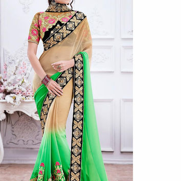 Lime Green Color Saree With Beautiful Fancy Pallu