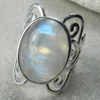 Moonstone Ring - Rainbow Moonstone Swirl Ring - Unique Moonstone Jewelry - Sterling Silver - Nature Butterfly Filigree Vintage Inspired