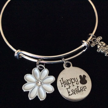 Happy Easter Expandable Charm Bracelet Silver Adjustable Wire Bangle Basket Gift