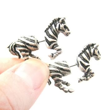 Fake Gauge Earrings: Zebra Horse Animal Shaped Stud Plug Earrings in Silver