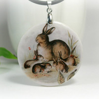 Family Of Rabbits Necklace Polymer Clay