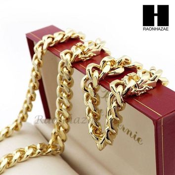 ONETOW Men 14k Gold Finish Heavy 15mm Miami Cuban Link Chain Necklace Bracelet 9' 30' A